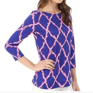 Lilly Pulitzer Blue and pink boatneck top